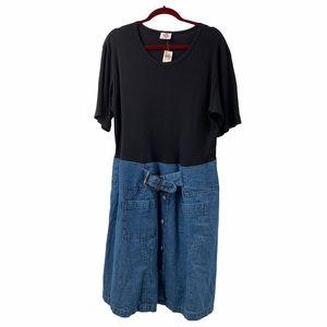 Simply Knitwear Mixed Material Cotton Denim Dress